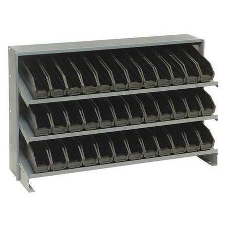 Sloped Shelving System, 36 Bins, Black QUANTUM STORAGE SYSTEMS QPRHA-100BK