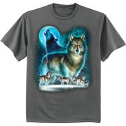 Pack of wolves lone wolf moon t-shirt graphic tee for men