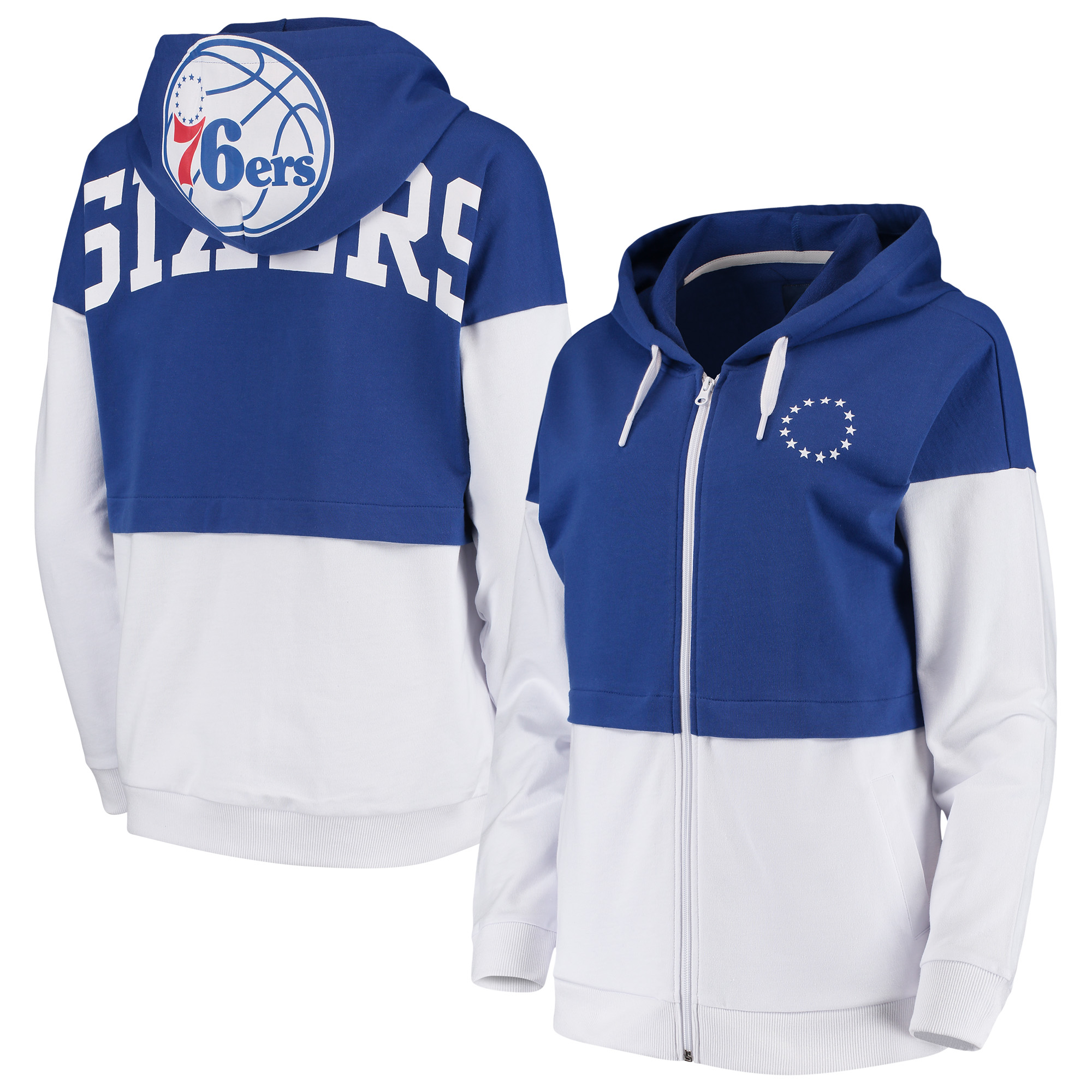 Philadelphia 76ers G-III 4Her by Carl Banks Women's Game Changer French Terry Colorblock Full-Zip Hoodie - Royal/White