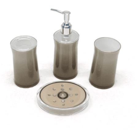 New shine 2 tone 4 piece bath accessories set taupe for Two tone bathroom accessories