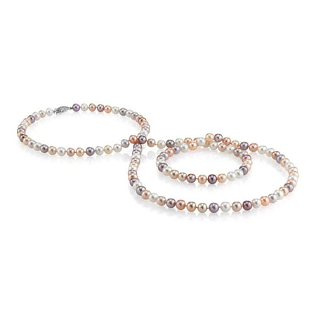 8-9mm AAA Quality Round Multicolor Freshwater Cultured Pearl Necklace for Women in 24 Matinee Length