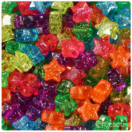 BeadTin Jelly Mix Sparkle 13mm Star Pony Beads (250pcs)