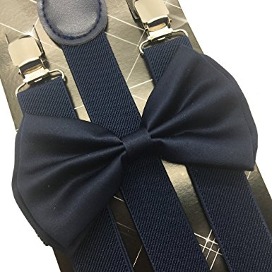 4everStore Unisex Bow Tie & Suspender Sets, Navy Blue