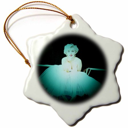 3dRose Marilyn Monroe. Legendary screen actress and model. Black turquoise. - Snowflake Ornament, - Marilyn Monroe Ornaments