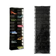26 Shoes Organizer  Door Large Pocket Over the Door Hanger  Closet Shelves Rack Hanging Storage Space Saver(Black)