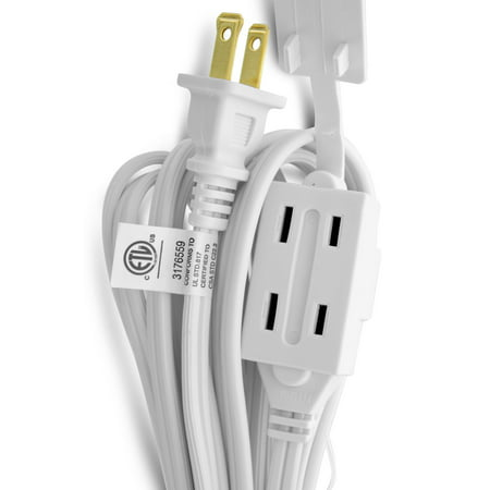 (3-Pack) Power Extension Cord, GearIT 15 Feet 3 Outlet Extension Cord Power Strip - UL Listed, White