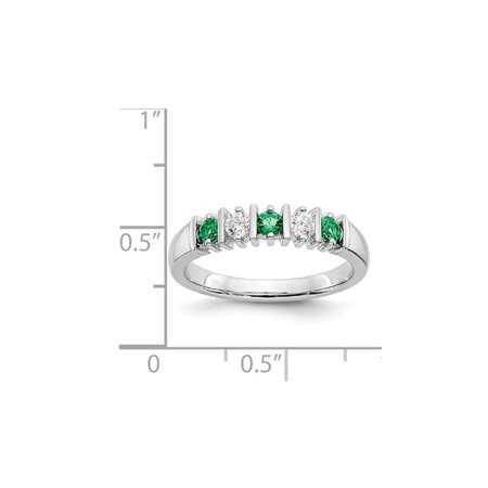 3/10 Carat (ctw) Natural Emerald Band Ring in 14K White Gold with 1/5 Carat (ctw) Diamonds - image 4 de 5