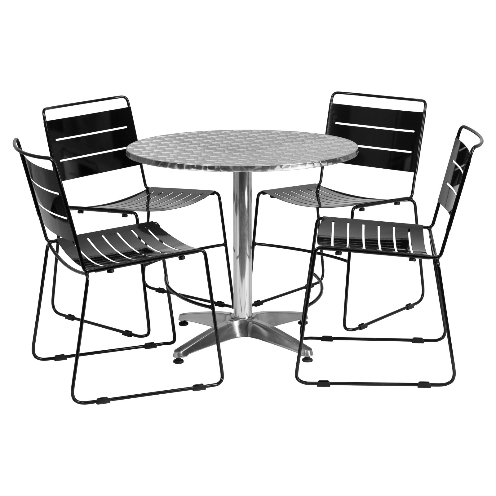"""Flash Furniture 31.5"""" Round Aluminum Indoor-Outdoor Table with 4 Metal Stack Chairs, Multiple Colors"""