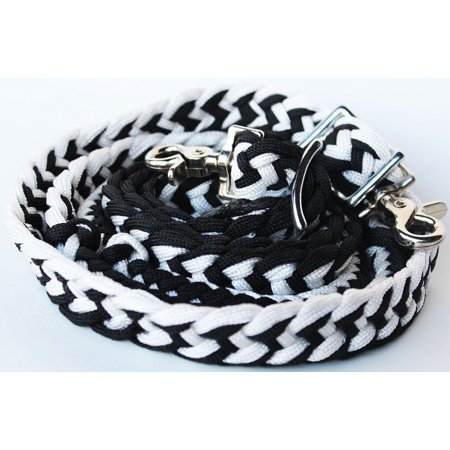Roping Knotted Horse Tack Western Barrel Reins Rein Nylon Braided BLACK WH 60703 (Mini Horse Reins)