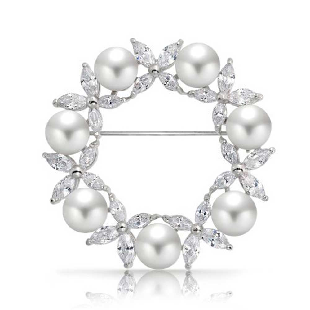White Simulated Pearl Marquise Cubic Zirconia Wreath Brooch Pin Rhodium Plated by Bling Jewelry
