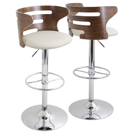 Cosi Mid-Century Modern Adjustable Barstool with Swivel in Walnut and Cream Faux Leather by LumiSource