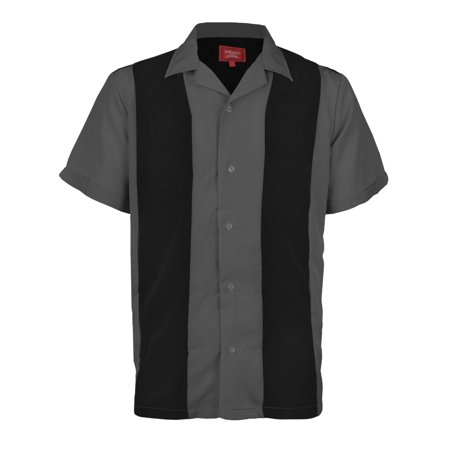 Maximos Men's Bowling Shirt Retro Button-Up Short Sleeved Striped Color Block Black - Dark Grey - Shop Retro Bowling Shirt