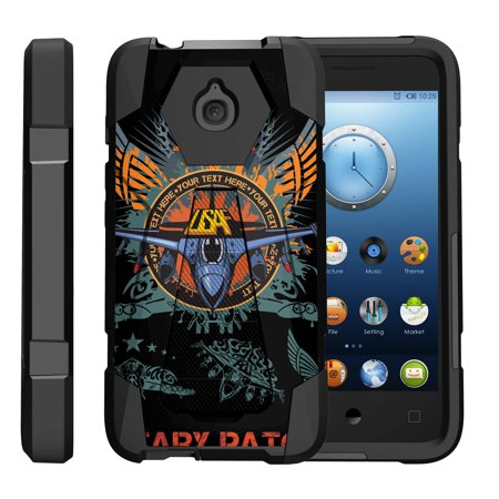 TurtleArmor ® | For Alcatel One Touch Aquire / Streak / Dawn / Ideal / Pixi Bond A573VC [Dynamic Shell] Dual Layer Hybrid Silicone Hard Shell Kickstand Case - Air Force Patch