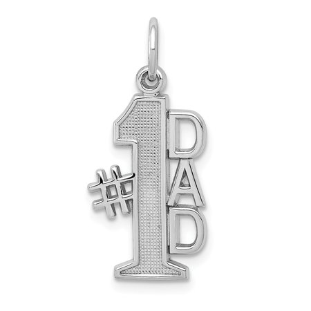 Solid 14k White Gold Polished #1 Dad Pendant Charm (11mm x 24mm)