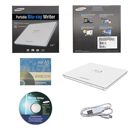 Samsung SE-506CB/RSWD 6X Portable Blu-ray BDXL DVD CD External Burner Writer Drive in Retail Box + FREE 3pk Mdisc BD + I