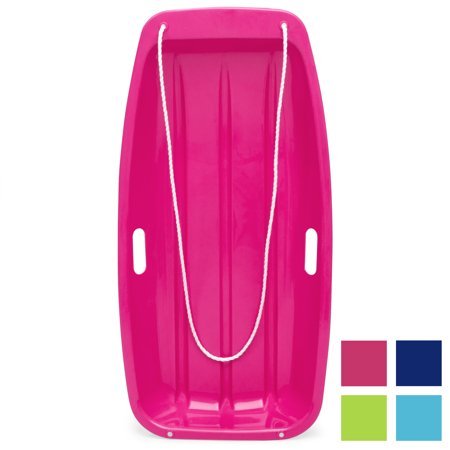 Best Choice Products 35in Kids Outdoor Plastic Sport Toboggan Winter Snow Slider Utility Sled Board Toy w/ Pull Rope, 2 Handles - Pink - Penguin Sled