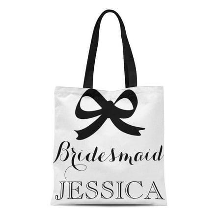 ASHLEIGH Canvas Tote Bag Maid Chic Black and White Bridesmaid Bow Honor Wedding Reusable Handbag Shoulder Grocery Shopping Bags](Bridesmaid Tote)