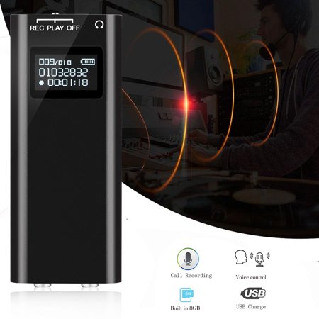 Small Mini Voice Activated Audio Recorder 96 Hour Storage Capacity (8GB), 25 Hours Standby Battery Date & Time Stamp, Easy to Use, Crystal Clear Digital Recording, OLED Screen Atomic Time Recorder