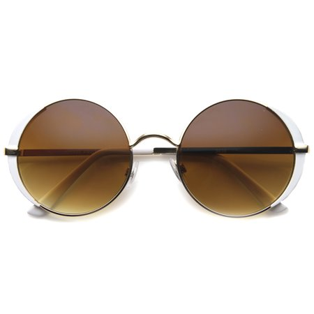sunglassLA - Retro Metal Frame Slim Temple Rim Detail Round Sunglasses 54mm - 54mm