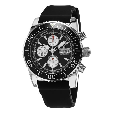 Revue Thommen  Men's 17030.6537 'Air Speed' Black Dial Black Rubber Strap Chronograph Swiss Automatic Automatic Chronograph Swiss Wrist Watch