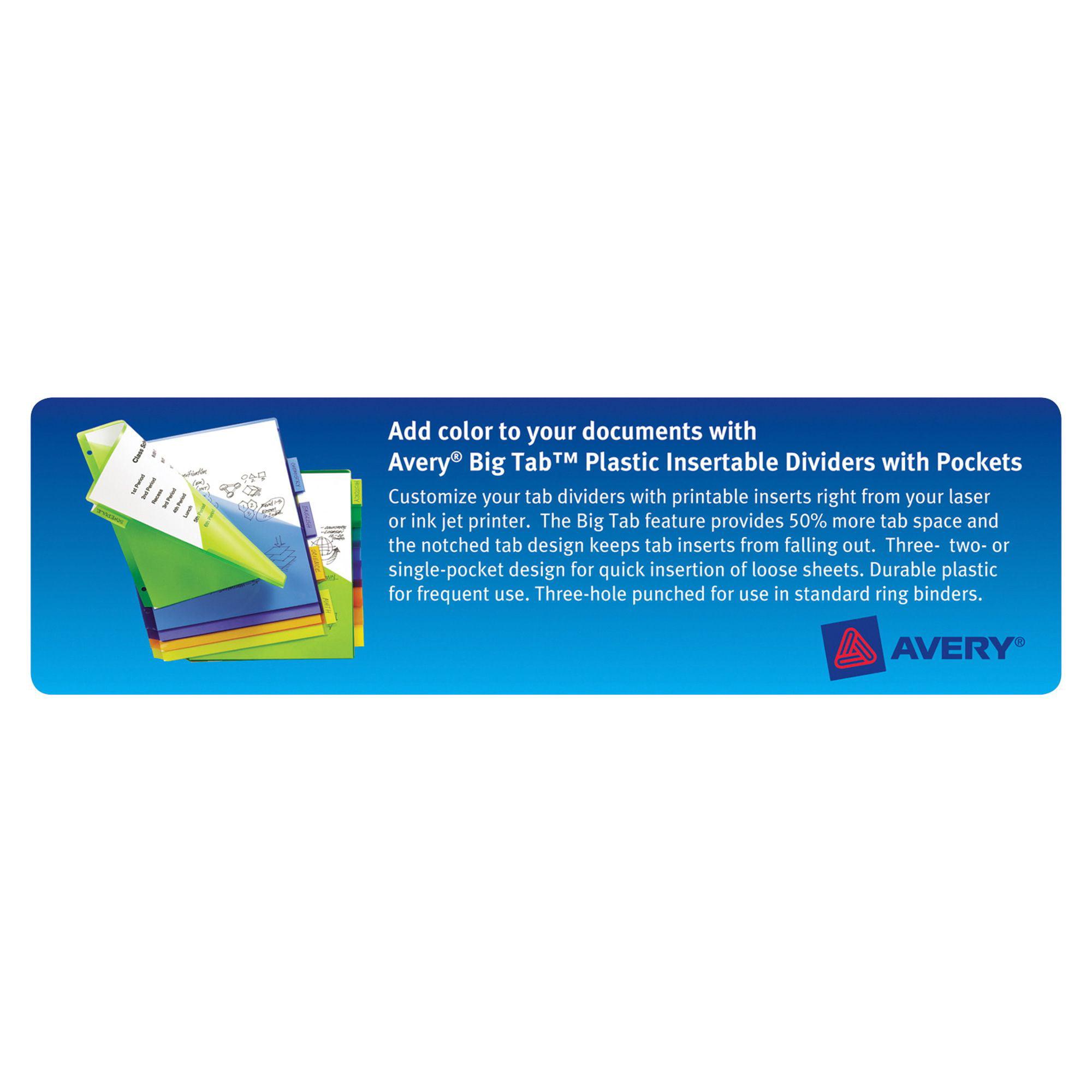 Avery Insertable Big Tab Plastic Dividers Wdouble Pockets 8 Tab