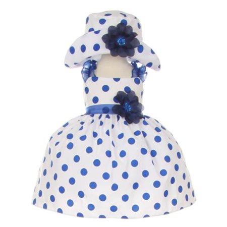 Navy Polka Dot Dress (Baby Girls Navy White Polka Dot Hat Occasion Dress)