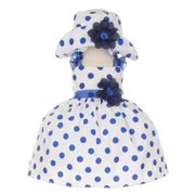 162424c4d4eb Baby Girls Navy White Polka Dot Hat Occasion Dress 18M