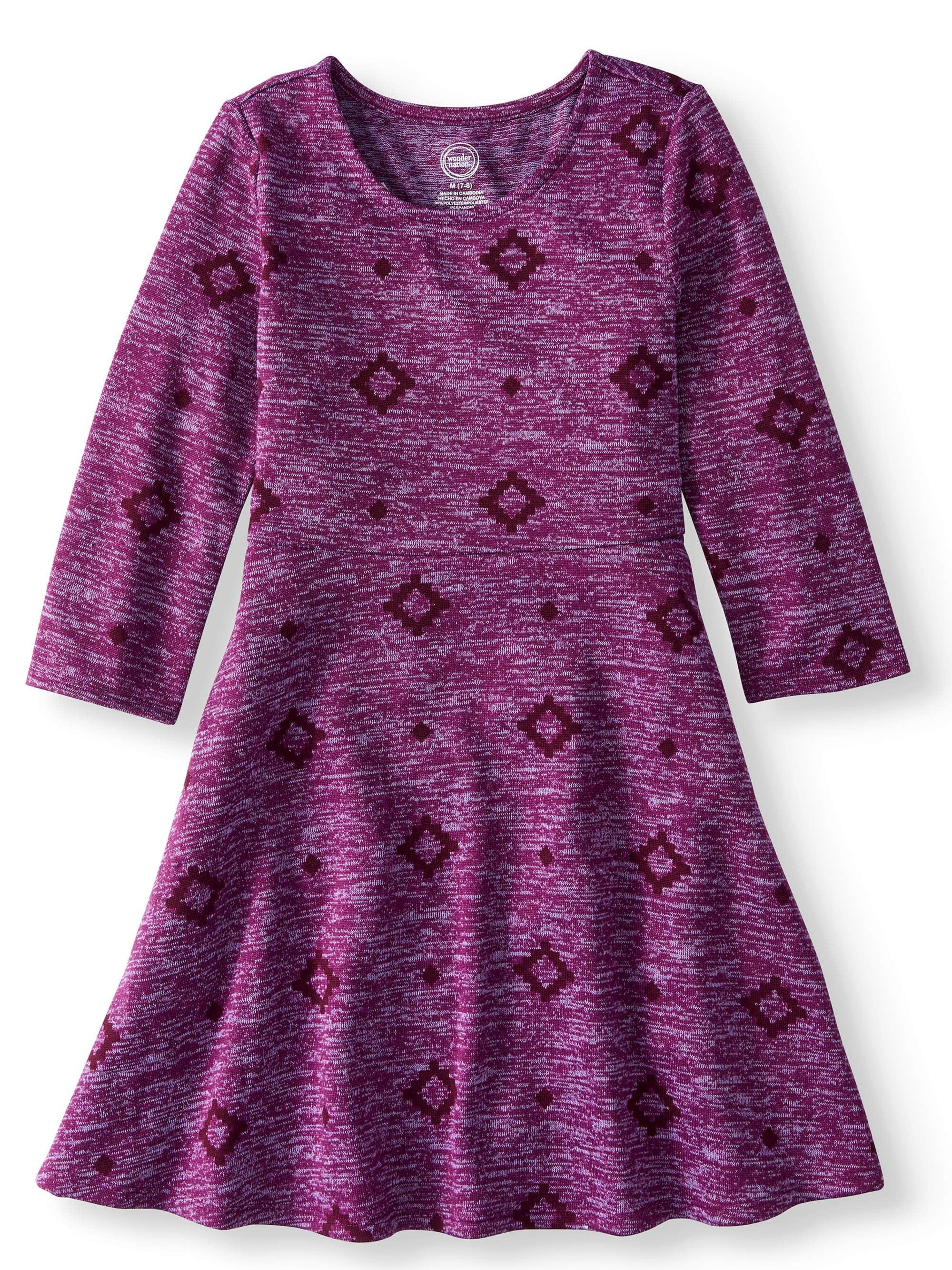 Printed Long Sleeve Sweater Knit Dress (Little Girls and Big Girls)