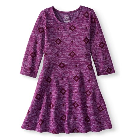 Printed Long Sleeve Sweater Knit Dress (Little Girls and Big Girls)