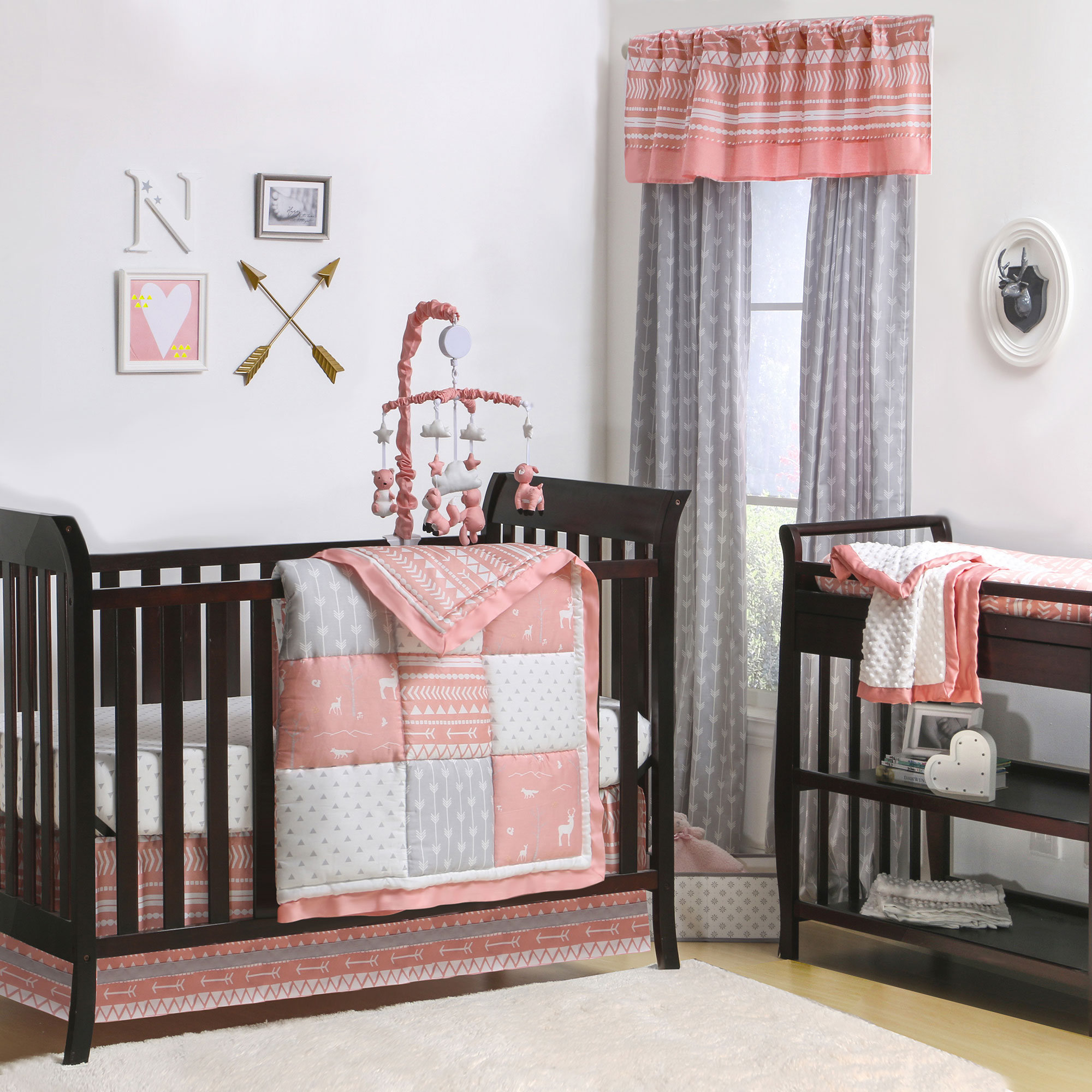 The Peanut Shell 4 Piece Baby Crib Bedding Set - Coral Pink Woodland and Native American Theme Patchwork - 100% Cotton Quilt, Dust Ruffle, Fitted Sheet, and Mobile