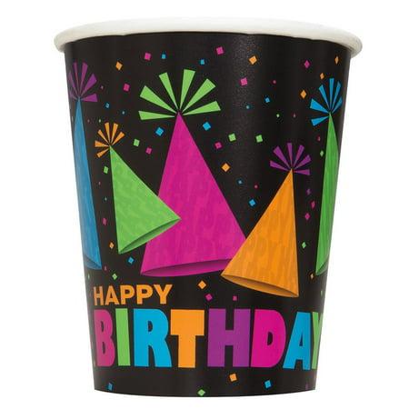 Neon Birthday Theme (9OZ NEON BIRTHDAY PARTY CUPS,)