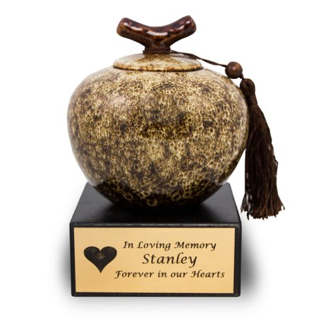 - Ceramic Memorial Urn For Adults - Medium 50 Pounds -  White Branch - Engraving Sold Separately