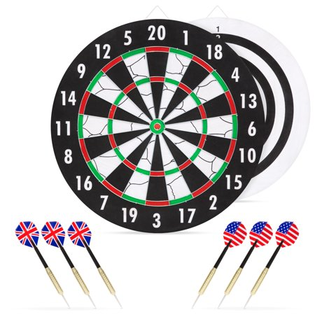Best Choice Products Double-Sided Dart Board Game Set with 6 Brass-Tip Darts 6, (Best Soft Tip Dart Board)