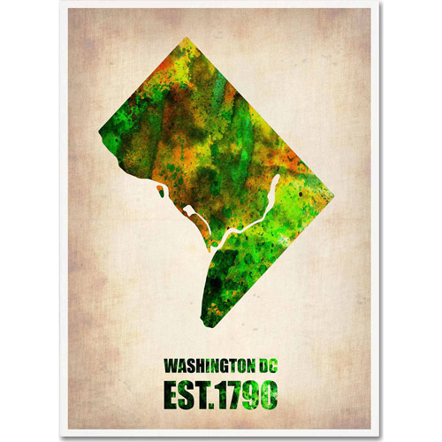 "Trademark Fine Art ""Washington D.C. Watercolor Map"" Canvas Art by Naxart"