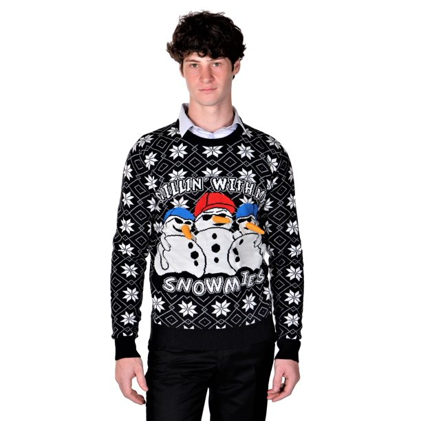 RWB Mens Ugly Christmas Sweaters Chillin With My Snowmies Navy Slim Fit