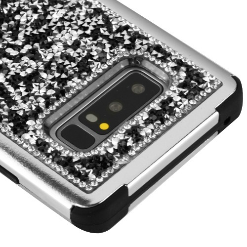 Kaleidio Case For Samsung Galaxy Note 8 [TUFF Armor] Impact Protective Hybrid [Shockproof] 3-Piece Dual Layer Rubber Diamond Cover w/ Overbrawn Prying Tool [Black Crystals Silver/Black]