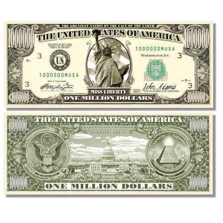 """One Dollar Silver Certificate (Miss Liberty Million Dollar Bill with Bonus """"Thanks a Million"""" Gift Card Set and 1 Clear Protector )"""