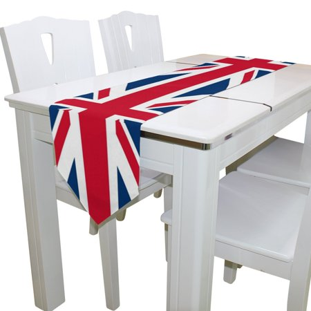 Popcreation Union Jack British Flag Table Runner Decoration Kitchen Runners For Home Coffee Dining 13x90 Inches