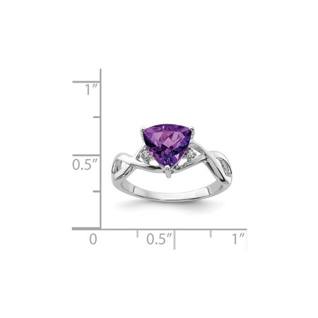 Ladies Solitaire Trillion Amethyst Ring 1.70 Carat (ctw) in Rhodium Plated Sterling Silver - image 1 de 2