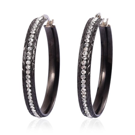Crystal Hoops, Hoop Fashion Earrings Stainless Steel Jewelry Gift for Women (Black/ Multi Color)