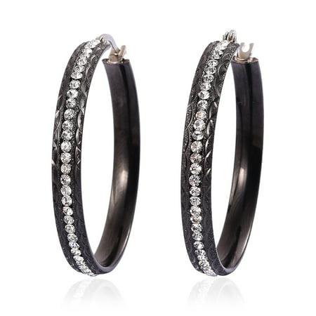 Crystal Hoops, Hoop Fashion Earrings Stainless Steel Jewelry Gift for Women (Black/ Multi Color)