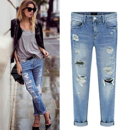 Womens Ripped Hole Straight Boyfriend Jeans Vintage Distressed Denim Skinny Long Pants Faded Trousers