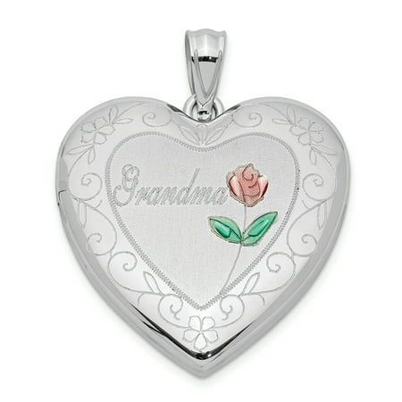 925 Sterling Silver 24mm Enameled Grandma Heart Photo Pendant Charm Locket Chain Necklace That Holds Pictures Gifts For Women For Her