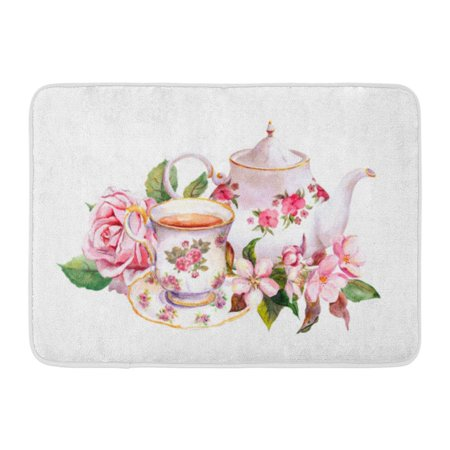 GODPOK Teapot Watercolour Teacup and Tea Pot with Pink Flowers Rose and Cherry Blossom Watercolor Vintage Floral Rug Doormat Bath Mat 23.6x15.7 (Pink Cherry Blossoms)