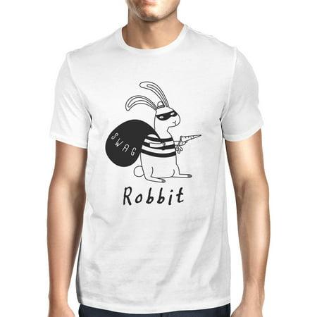 Men's Funny White Rabbit Graphic Shirt - Robbit with Swag (White Rabbit Bag)