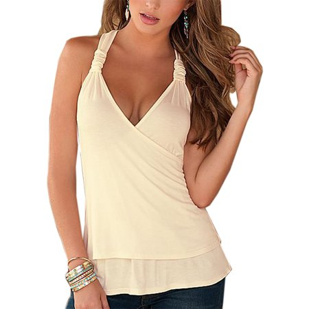 Bamboo Halter Top (Women Sexy Lace Halter V-neck Backless Vest Tops )