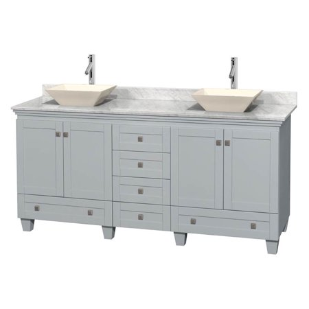Wyndham Collection Acclaim 72 inch Double Bathroom Vanity in Oyster Gray, White Carrera Marble Countertop, Pyra Bone Porcelain Sinks, and No Mirrors ()
