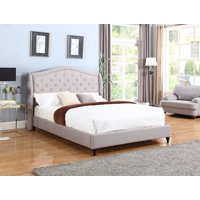 "HomeLife® 53"" Light Grey Curved & Diamond Tufted Headboard Platform Bed"