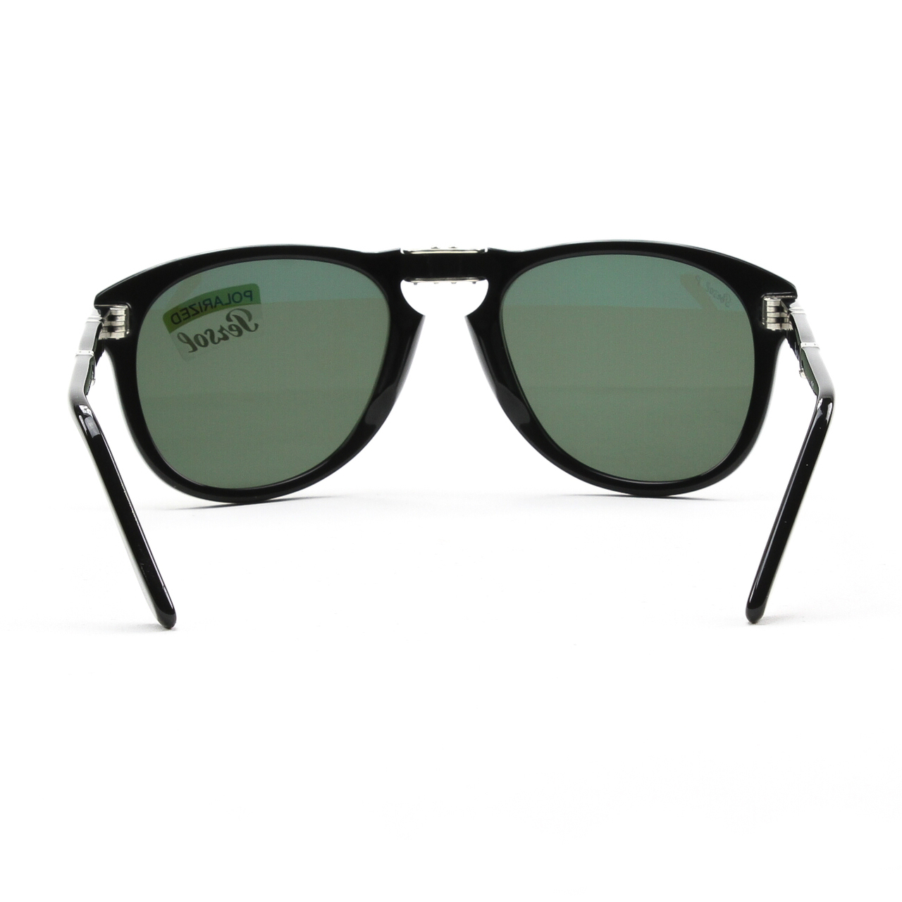 02af812f2a9b2 Persol - PO 714 95 58 54mm Shiny Black Green Polarized Folding Sunglasses -  Walmart.com