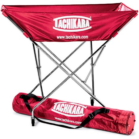 Tachikara Hammock Volleyball Cart with Nylon Carry Bag The sturdy steel frame and hammock-style design of this ball cart are perfect for all of you coaches out there who run fast-paced drills. It holds up to 24 inflated balls and is completely collapsible for easy storage. This car comes with a nylon carry bag with an adjustable strap.